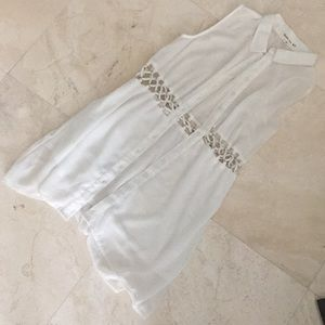 White sheer long button up shirt with cutout - M